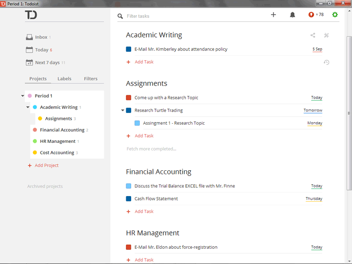 Top 7 Best free task management Software- Todoist
