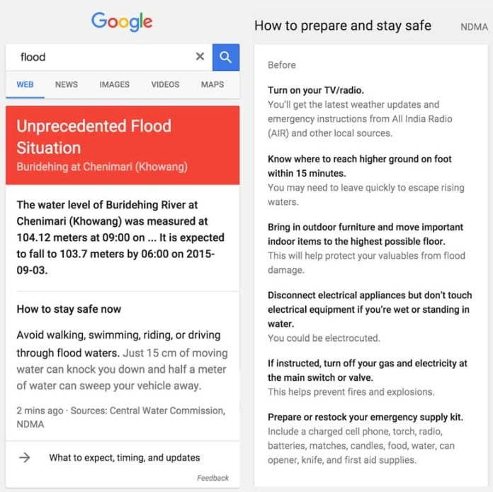 Google to offer Flood Alerts in India via Maps and Google Now